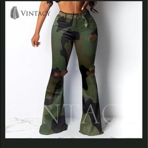 CASUAL FLARE CAMOUFLAGE PANTS WOMEN PRINT RIPPED